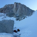 Mount Whitney towers above the scene of the rescue